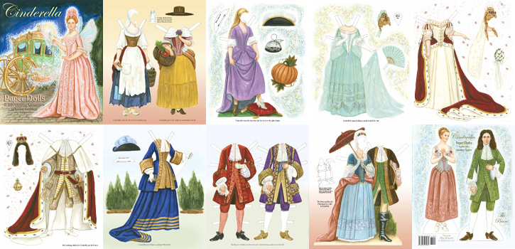 Cinderella Paper Dolls & 17th Century Costumes